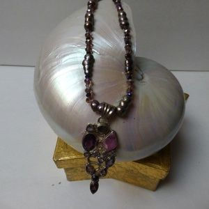 PEARLS,CRYSTALS AMETHYST DRUZY PENDANTNECKLACE